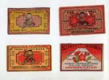 VERY OLD match box labels CHINA or JAPAN patriotic  #314